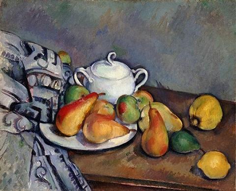 砂糖壺、梨とテーブルクロス.jpg