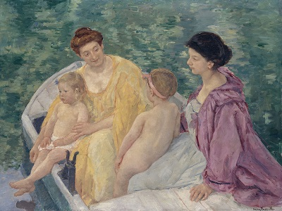 Two mothers and their children in a boat.jpg